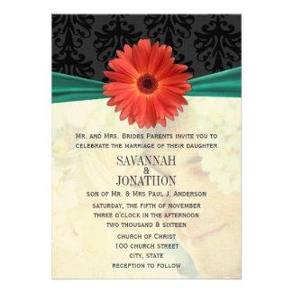 Photo Vintage Damask Emerald Gerber Daisy Wedding Personalized Invitation