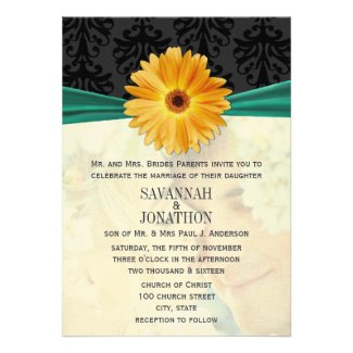 Photo Vintage Damask Emerald Gerber Daisy Wedding Personalized Announcement