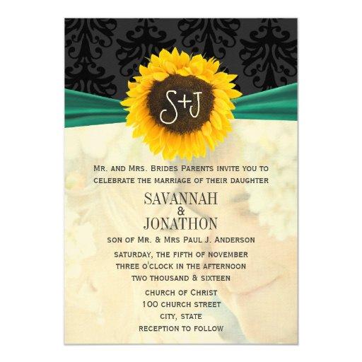 Photo Vintage Damask Emerald Sunflower Wedding Personalized Invitations