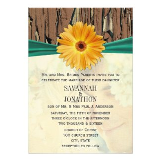Photo Vintage Wood Emerald Gerber Daisy Wedding Personalized Announcement