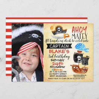 Photo Watercolor Ahoy Pirate Birthday Invitation