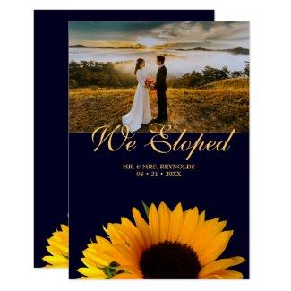 Photo We Eloped Navy Blue Wedding Announcement
