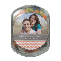 Photo Wedding Favor Candy Tin Coral Grey Chevron at Zazzle