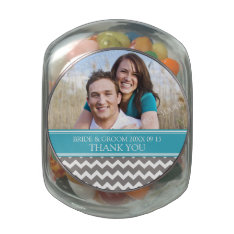 Photo Wedding Favor Candy Tin Teal Grey Chevron at Zazzle