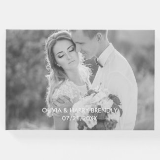 Photo Wedding Guest Book - White Text Overlay