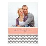 "Photo Wedding Invitations Grey Coral Chevron 5"" X 7"" Invitation Card"