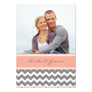 Photo Wedding Invitations Grey Coral Chevron 5