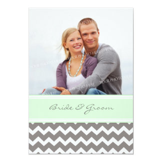 Photo Wedding Invitations Grey Mint Chevron