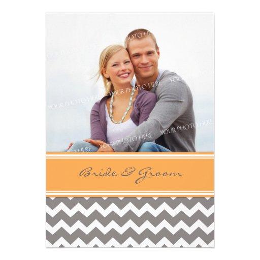 Photo Wedding Invitations Grey Orange Chevron