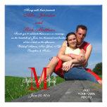 Photo Wedding Invitations Monograms Red White
