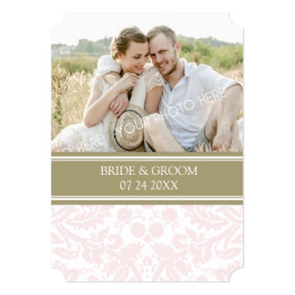 Photo Wedding Invitations Tan Blush Pink Damask