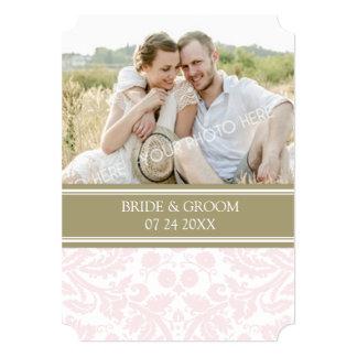 Photo Wedding Invitations Tan Pink Damask