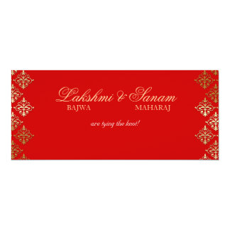 Photo Wedding Invite Indian Red Gold