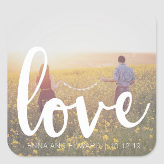 Photo Wedding Love Getting Married Square Sticker