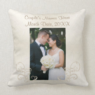 Photo Wedding Pillows with Couple's Name and Date