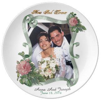 Photo Wedding Plate elegant vintage rose