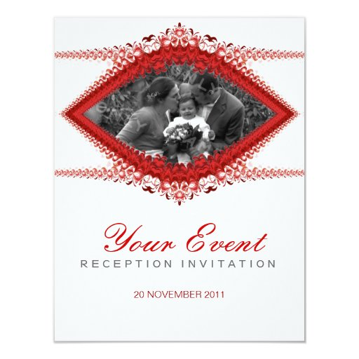 Photo : Wedding : Red White Ornate Invitation temp