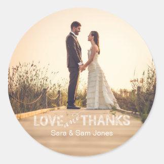 Photo Wedding Sticker, Love and Thanks Overlay Classic Round Sticker