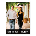 Photo White Pattern/Black Box Save the Date 01 Postcards