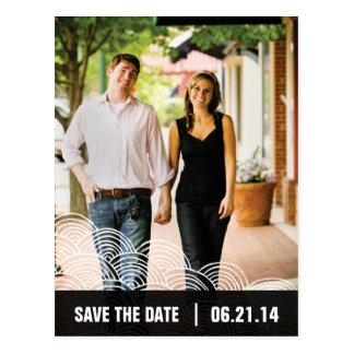 Photo White Pattern/Black Box Save the Date 01 Postcards