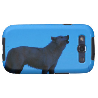 Photo, white wolf howling at night, Color, High Galaxy SIII Case