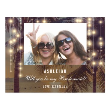 Beach Themed Photo Will You Be My Bridesmaid | Beach Sunset Postcard
