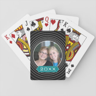 Photo with Black Polka Dot Frame and Custom Year Playing Cards