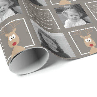 Photo with Cartoon Reindeer with Merry Christmas Wrapping Paper