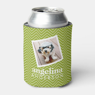 Photo with Chevron Pattern and Custom Name Can Cooler
