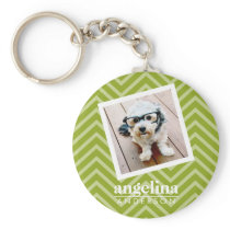 Photo with Chevron Pattern and Custom Name Keychain