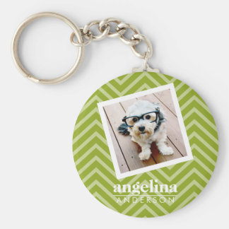 Photo with Chevron Pattern and Custom Name Basic Round Button Keychain