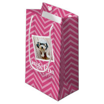 Photo with Chevron Pattern and Custom Name Small Gift Bag