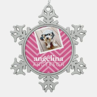 Photo with Chevron Pattern and Custom Name Snowflake Pewter Christmas Ornament
