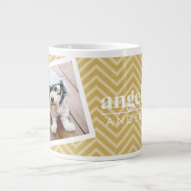 Photo with Gold Chevron Pattern and Custom Name Giant Coffee Mug