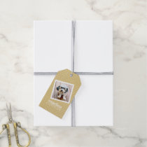 Photo with Gold Chevron Pattern and Custom Name Gift Tags