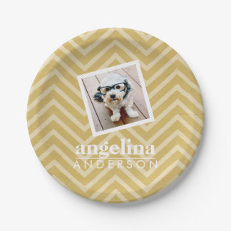 Photo with Gold Chevron Pattern and Custom Name Paper Plate