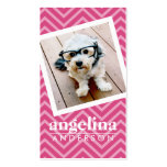 Photo with Hot Pink Chevron Pattern Custom Name Business Card