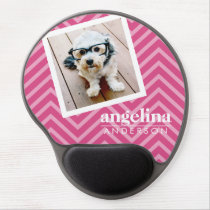 Photo with Hot Pink Chevron Pattern Custom Name Gel Mouse Pad