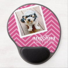 Photo With Hot Pink Chevron Pattern Custom Name Gel Mouse Pad at Zazzle