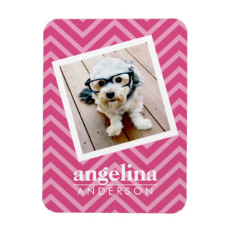 Photo with Hot Pink Chevron Pattern Custom Name Magnet