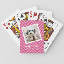 Photo with Hot Pink Chevron Pattern Custom Name Playing Cards