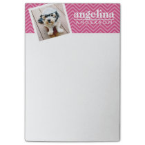 Photo with Hot Pink Chevron Pattern Custom Name Post-it Notes