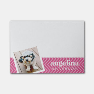 Photo with Hot Pink Chevron Pattern Custom Name Post-it® Notes