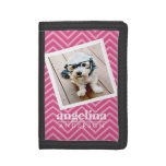 Photo with Hot Pink Chevron Pattern Custom Name Trifold Wallet