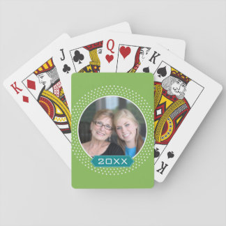 Photo with Lime Polka Dot Frame and Custom Year Playing Cards