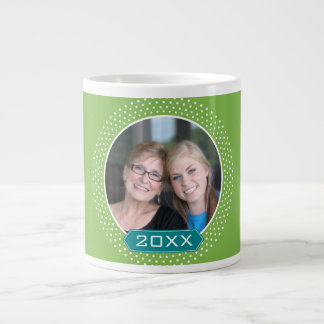 Photo with Lime Polka Dot Frame and Custom Year Extra Large Mugs