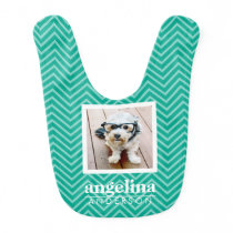 Photo with Modern Chevron Pattern and Custom Name Bib