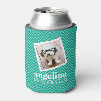 Photo with Modern Chevron Pattern and Custom Name Can Cooler
