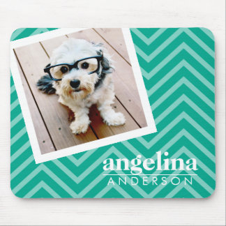 Photo with Modern Chevron Pattern and Custom Name Mouse Pad