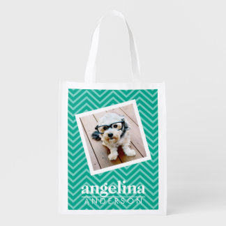Photo with Modern Chevron Pattern and Custom Name Reusable Grocery Bags